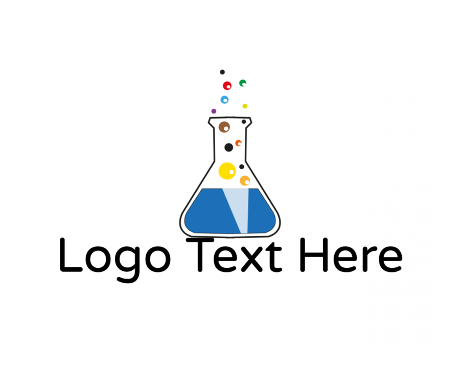 Test Tube Logo Creator with Chemistry and Colorful elements