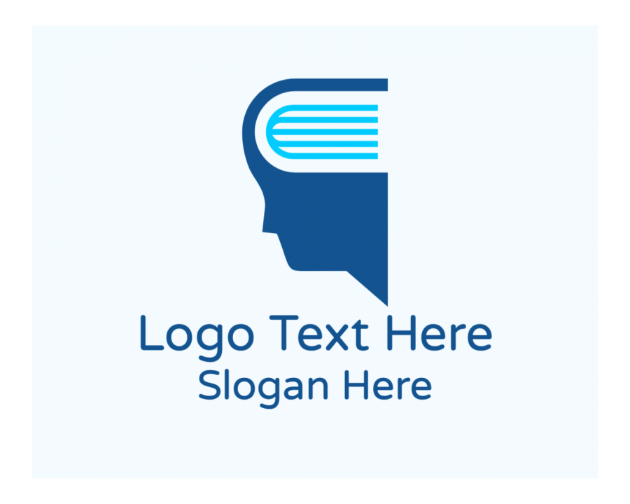 Face Online logo template with Head and Blue elements