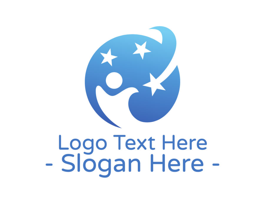 Kid Logo Symbol with Children and Blue elements