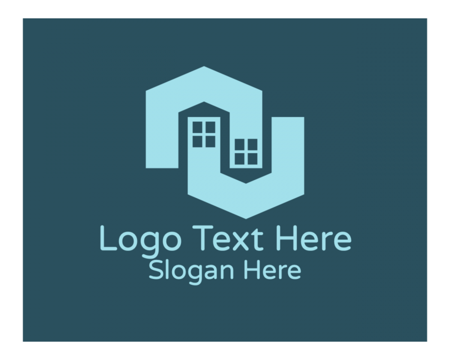 Geometric Logo Designer with Property and Blue elements