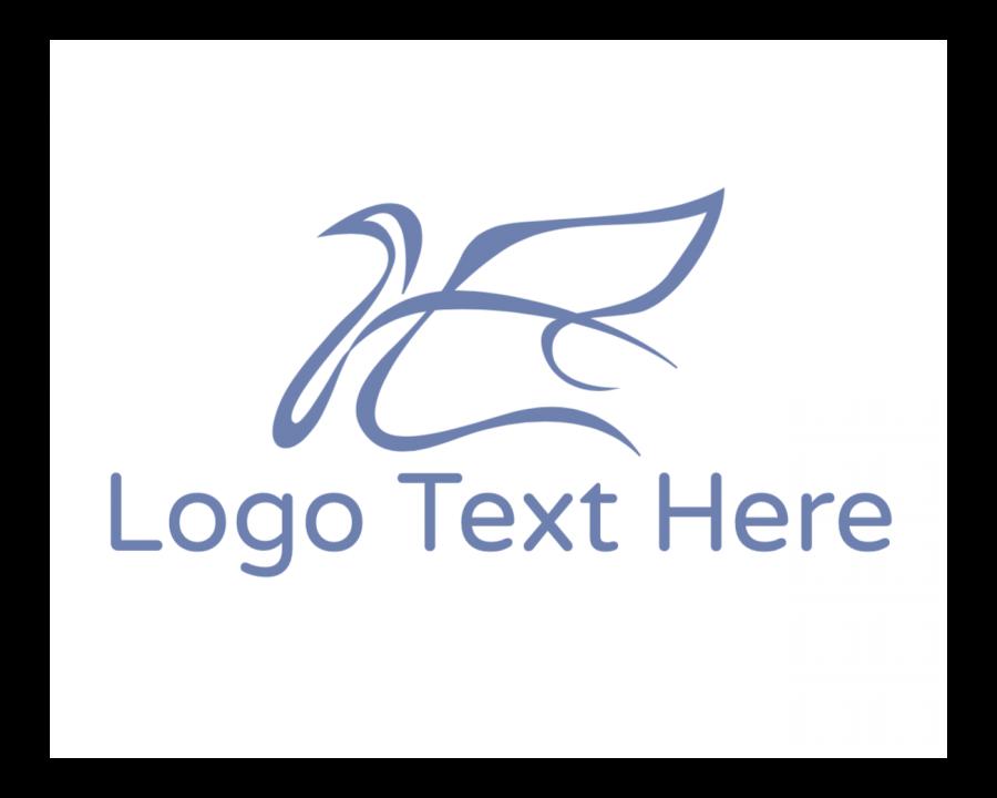 Bird Logo design maker with Feminine and Blue elements