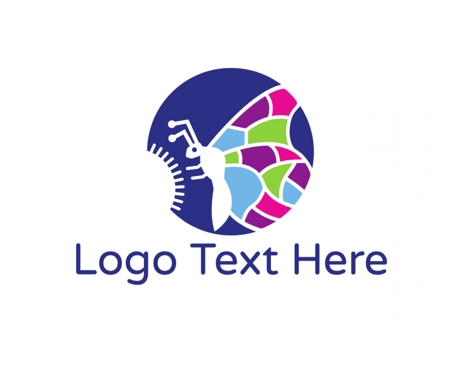 Flower Logo symbol with Colorful and Blue elements