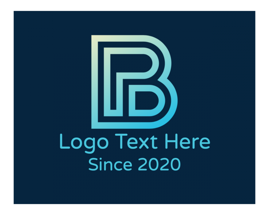 Elegant Logotype with Blue and Lettermark elements