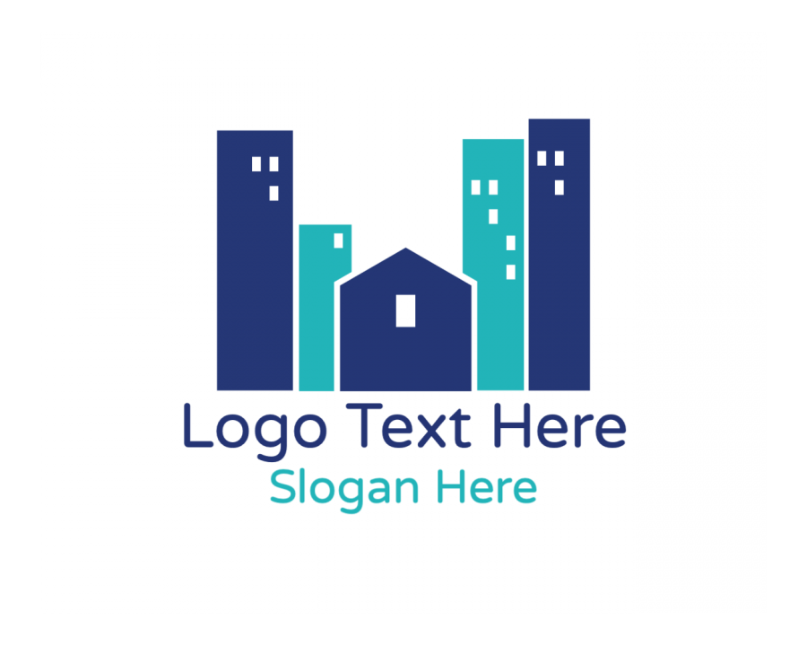 Town Online Logo Maker with City and Blue elements