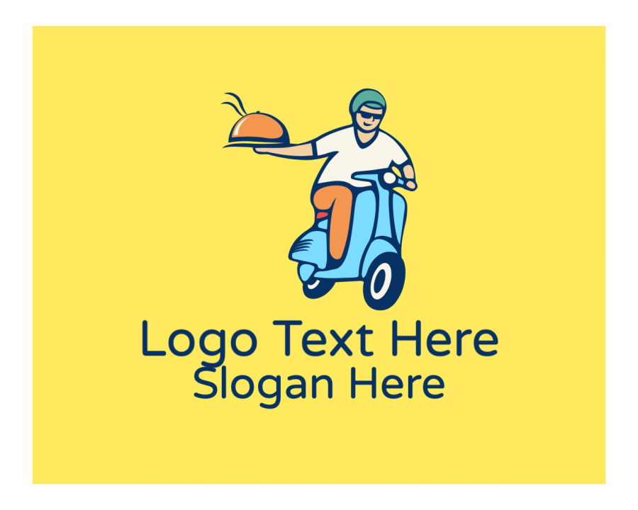 Cuisine Free logo creator with Delivery and Man elements