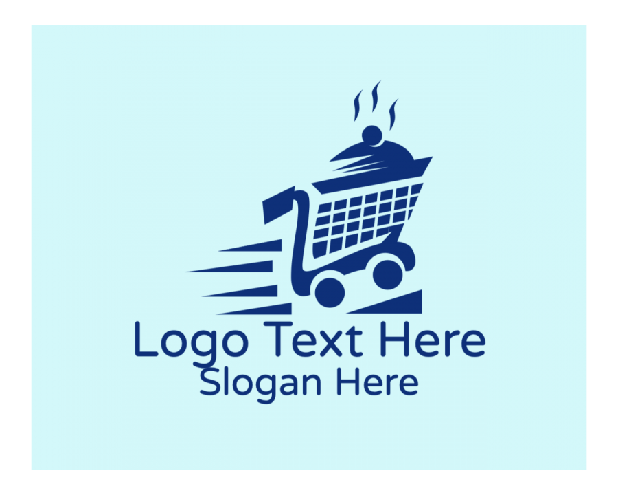 Delivery Logo template with Courier and Online elements