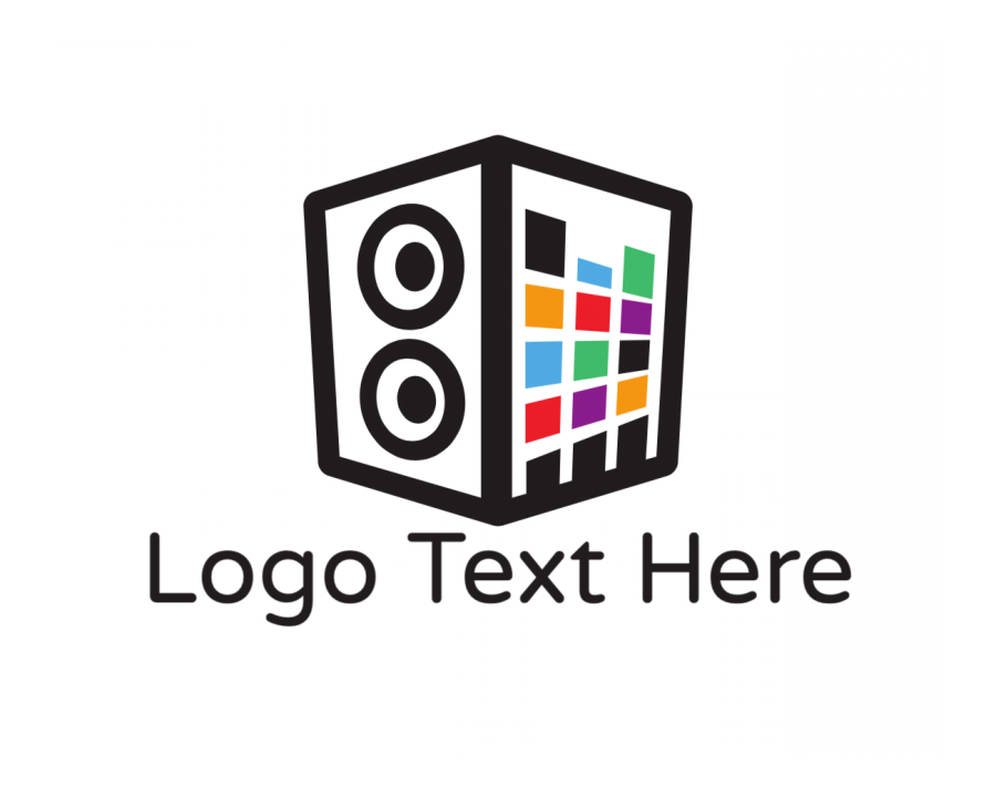 Device Free logo creator with Speaker and Music elements
